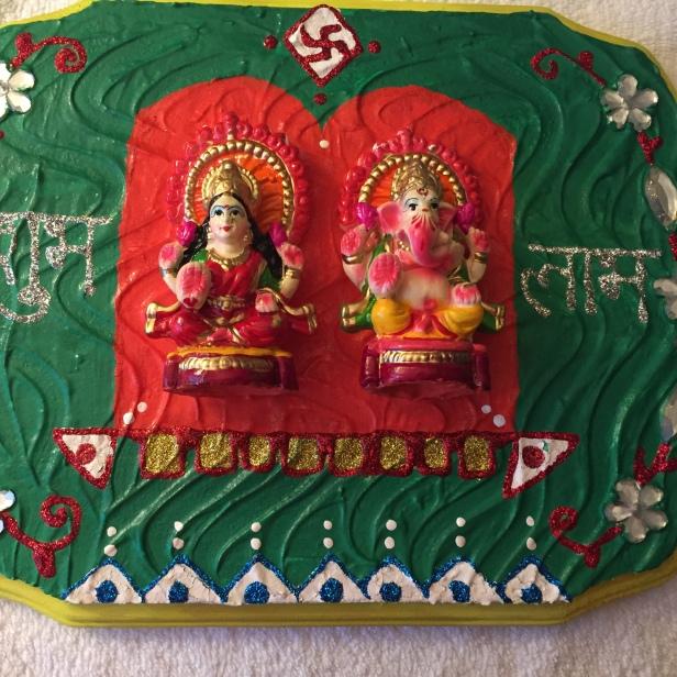 Lakshmi Ganesha wooden wall hanging (Diwali theme)