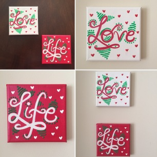 Set of 2 mini canvases - Love Life!